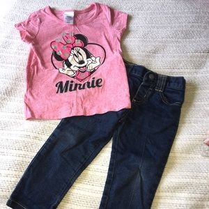 EUC 2T Minnie Mouse Shirt And 18M Jeans